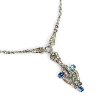 Sweet Romance Art Deco Crystal Café Society Necklace