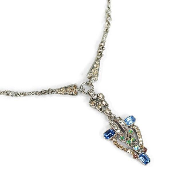 Sweet Romance Pewter New York City Art Deco Necklace