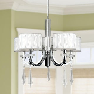 Cutlass Collection 5-light Arm Chrome Finish and Clear Crystal Large Chandelier with White Fabric Shade