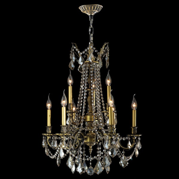 Windsor Collection 9-light Antique Bronze Finish and Golden Teak Crystal Cast Brass 2-tier Chandelier