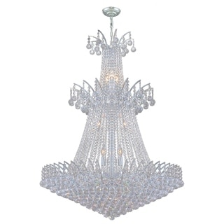 Majestic 18-light Chrome Finish and Clear Crystal 32-inch Wide French Empire Chandelier