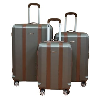 Chocolate New York Grey Lightweight 3-Piece Hardside Spinner Luggage Set