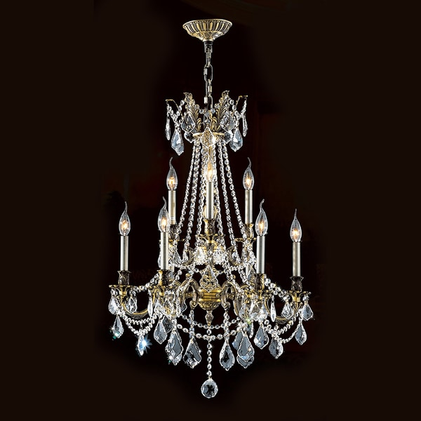 Windsor Collection 9-light Antique Bronze Finish and Clear Crystal Cast Brass 2-tier Chandelier