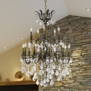Versailles Collection 15-light Antique Bronze Finish and Clear Crystal Chandelier