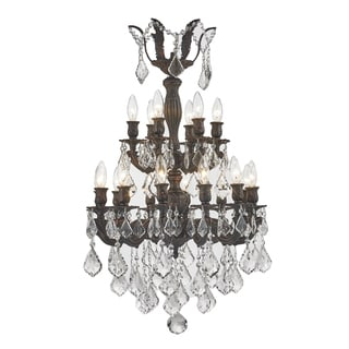 Versailles Collection 18-light Flemish Brass Finish and Clear Crystal Chandelier