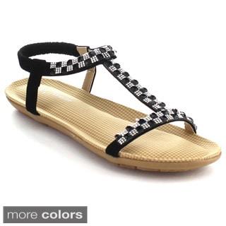 Forever Calista-55 Women's Glittering Rhinestone Ankle Strap Flat Sandals