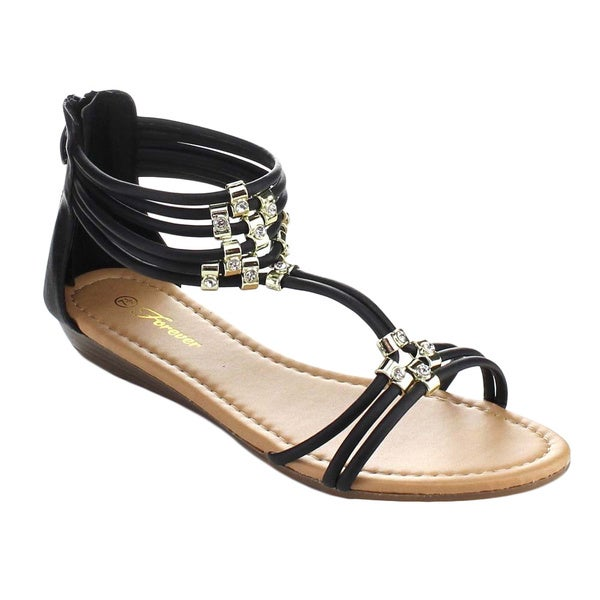 Forever Filosia-28 Women's Metal Buckle Rhinestone Multi Strap Back Zip Sandals