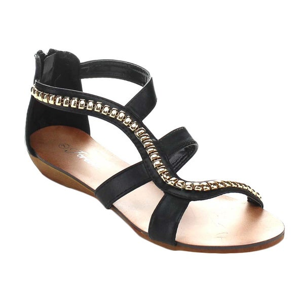 Forever Rebel-13 Women's Metallic Ornaments Twisted T-Straps Back Zipper Sandals