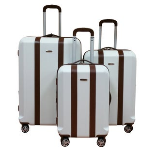 Chocolate New York White Lightweight 3-Piece Hardside Spinner Luggage Set