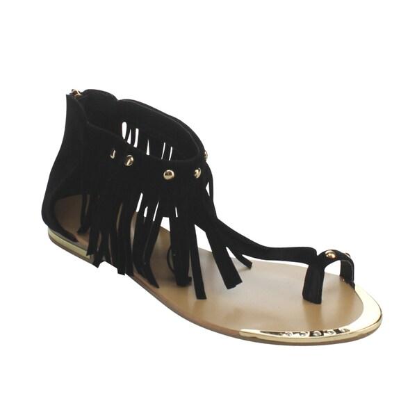 Forever Tyler-28 Women's Fringed Studded Rhinestones T-Strap Sandals