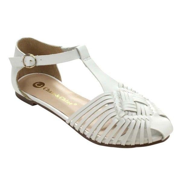 Chase & Chloe Lena-3 Women's Cut-Out T-Strap Gladiator Style Flat Sandals
