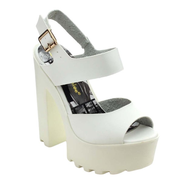 Chase & Chloe Empire-2 Women's Peep Toe Ankle Strap Platform Chunky Heels