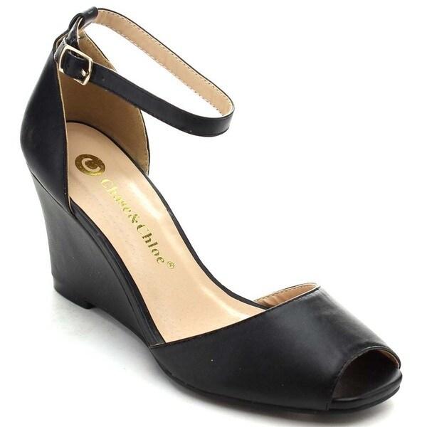 Chase & Chloe Meadow-1 Women's Peep Toe Ankle Strap Wedge