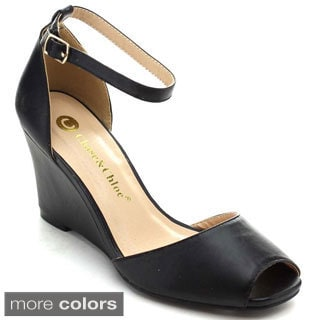 Chase & Chloe Meadow-1 Women's Peep Toe Ankle Strap Wedge