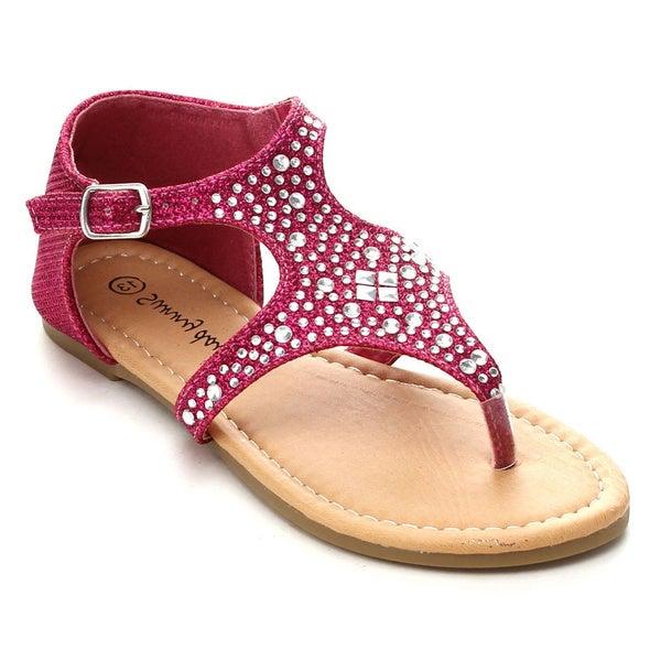 Sunny Day Sandra-19 Girls' Rhinestone T-Strap Cut Out Flat Sandals