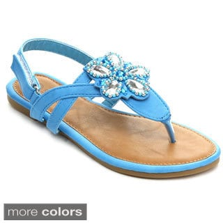 Sunny Day Sandra-24 Girls' T-Strap Floral Gem Slingback Buckled Sandals