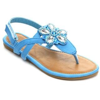 Sunny Day Sandra-24 Girls' T-Strap Floral Gem Slingback Buckled Sandals