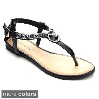 Sunny Day Zalia-4 Women's T-Strap Rhinestone Buckle Strap Flat Sandals