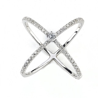 Diamonds for a Cure 18k White Gold 1/2ct TDW Diamond 'X' Criss-cross Ring (G-H, SI1-SI2)(Size 6)