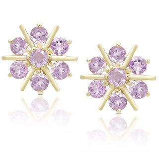 Dolce Giavonna Gold Over Sterling Silver Gemstone Flower Stud Earrings