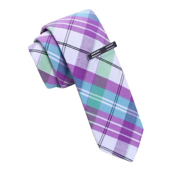 Skinny Tie Madness Men's Purple Plaid Skinny Tie with Tie Clip