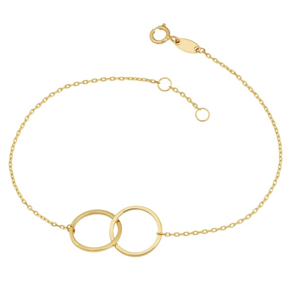Fremada 14k Yellow Gold High Polish Double Circle Adjustabale Bracelet