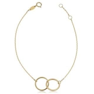 Fremada 14k Yellow Gold High Polish Double Circle Adjustabale Bracelet