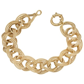 Fremada 14k Yellow Gold Twist Design Triple Oval Link Bracelet (8 inches)