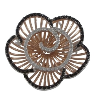Sterling Silver Cubic Zirconia Radial Flower Brooch