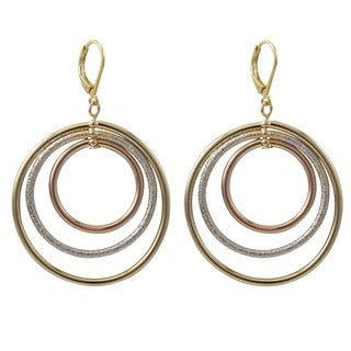 Tri-color Gold Finish Floating Circles Dangle Earrings