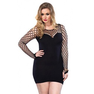Women's Plus-Size Seamless Diamond Net Mini Dress