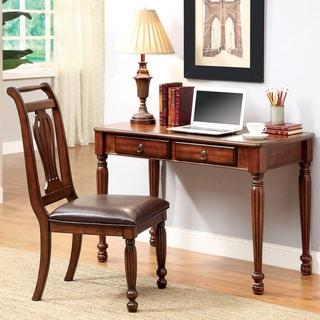 Furniture of America Lorelai 2-piece Dark Oak Desk and Chair Set