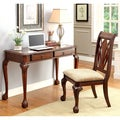Furniture of America Dontelle 2-piece Cherry Desk and Chair Set