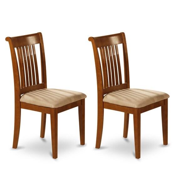 Portland Saddle Brown Slat Back Chair