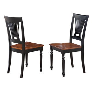 Plainville Black/ Cherry Wooden Seat Dining Chair (Set of 2)