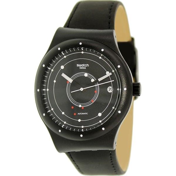 Swatch Women s Originals SUTB400 Black Leather Automatic Watch