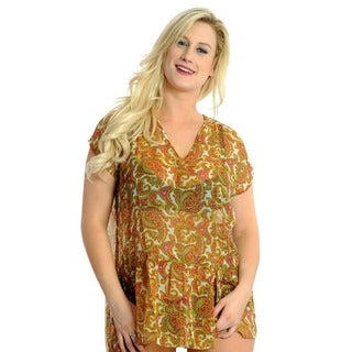 La Leela Chiffon Paisley Swim Cover-up