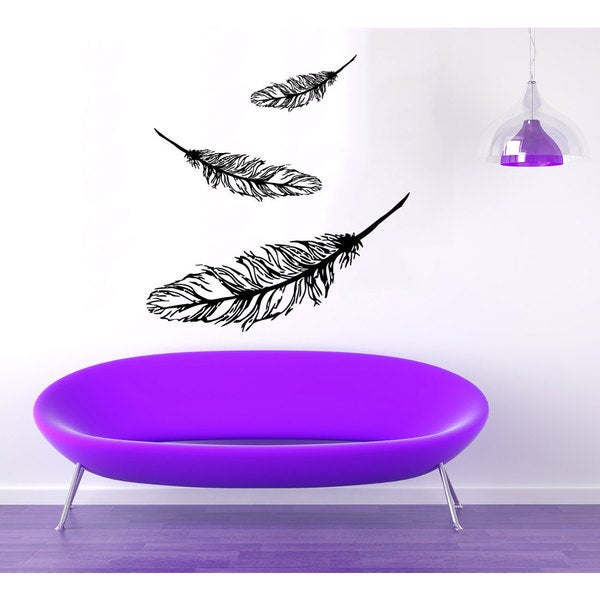 Black Feathers Vinyl Sticker Wall Art