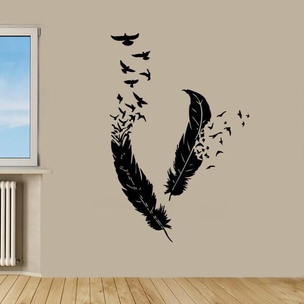 Birds Flying From Feathers Vinyl Sticker Wall Art