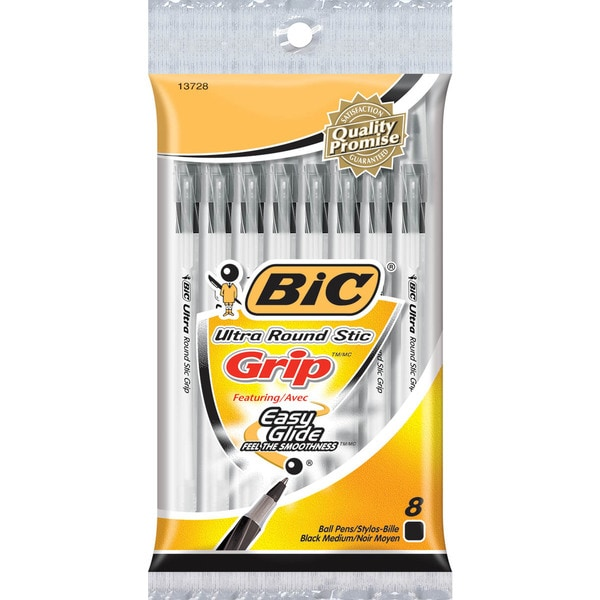 BIC Ultra Round Stic Grip Medium Point 1.2mm Blue Ink Ballpoint Pen (8-count)