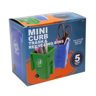 Junipers Mini Curbside Trash and Recycle Can Set Pencil Cup Holder