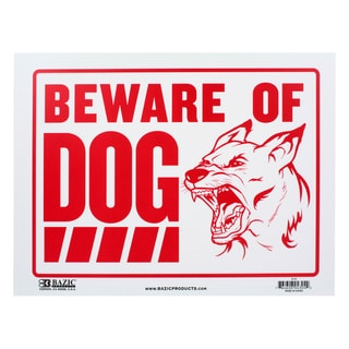 Bazic Small Beware of Dog Sign (9 x 12 inches)