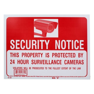 Bazic Small Securtity Notice Sign (9 x 12 inches)