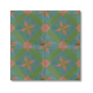 Kotobia Green and Pink Handmade Cement and Granite Moroccan Tile 8-inch Floor and Wall Tile (Pack of 12)