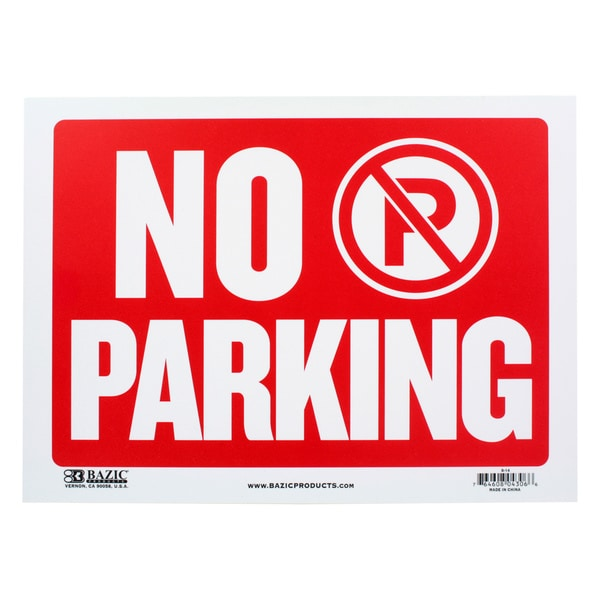 Bazic Small No Parking Sign (9 x 12 inches)