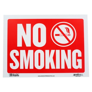 Bazic Small No Smoking Sign (9 x 12 inches)