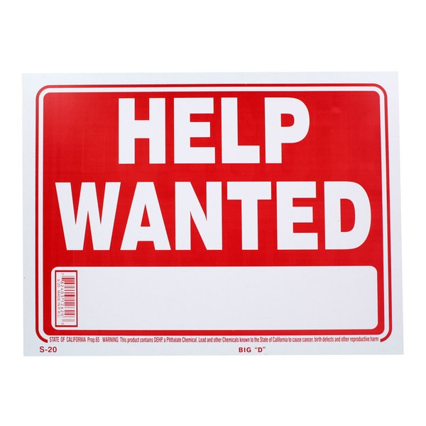 Bazic Small Help Wanted Sign (9 x 12 inches)