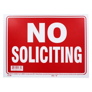 Bazic Small No Soliciting Sign (9 x 12 inches)