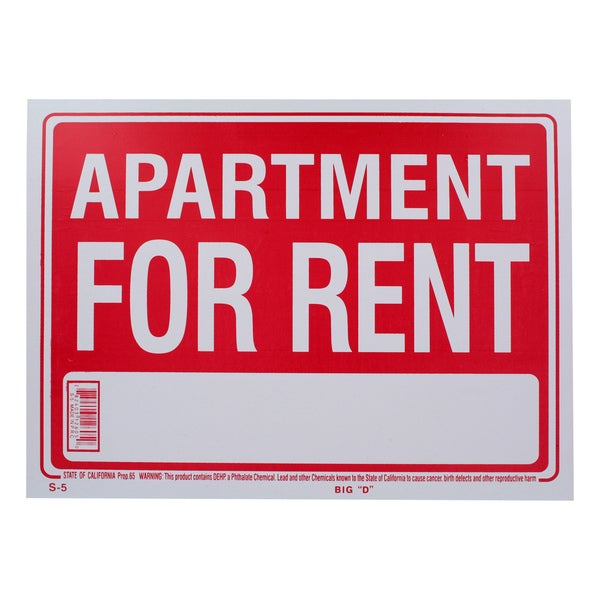 Bazic Small Apartment For Rent Sign (9 x 12 inches)