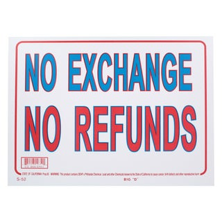 Bazic Small No Exchange No Refunds Sign (9 x 12 inches)